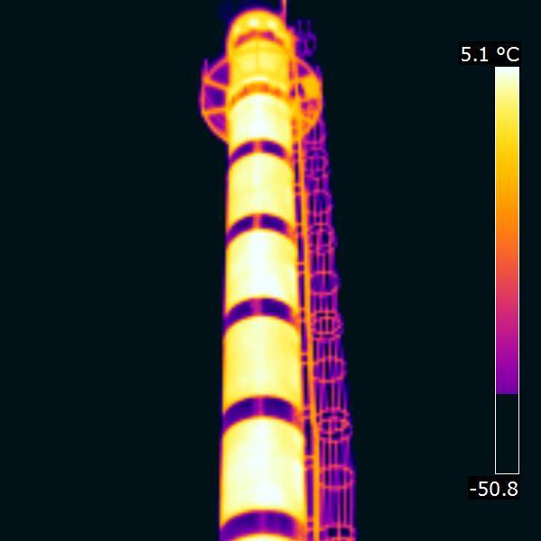 тепловизионное изображение дымовой трубы котельной: тепловизионное обследование дымовой трубы