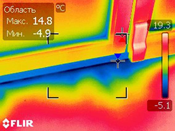 продувание примыкания рамы окна и подоконника - дефект установки окна